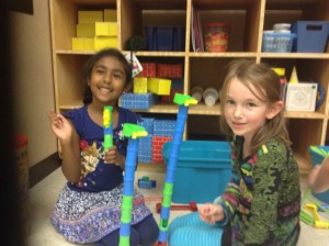 We love Exploration time. Aszaria and Madelynn collaborating as they construct.