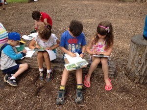 Reading and journaling outside.