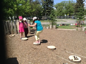 Students created their own game using nature materials.